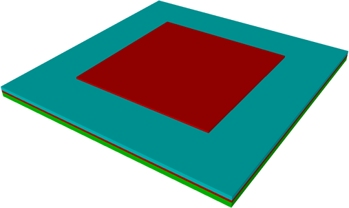 Figure 1: FBAR geometry. Rectangular electrodes (Red), piezoelectric film (Blue), substrate (Green)